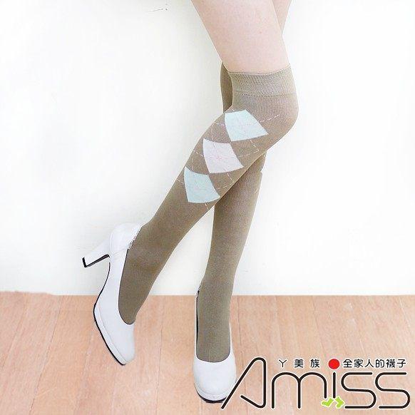 【Amiss】中統少女棉襪-蘇格蘭(卡其) B703-17