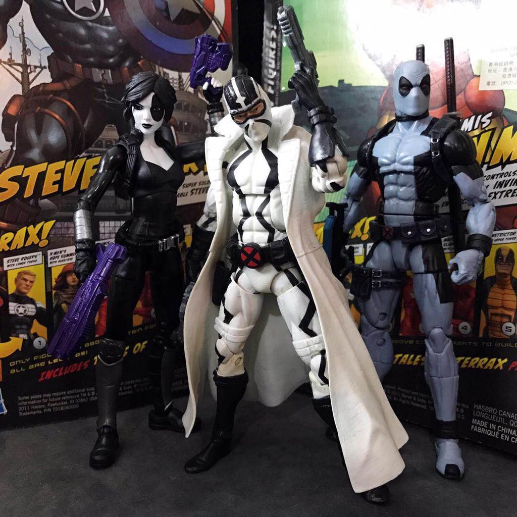 【Q版模型】Marvel Legends x-force 白幽靈多米諾灰死侍6寸可動模型