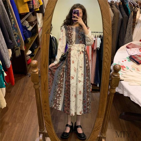Miya韓版法式收腰設計感中長裙拼接長款復古碎花連身裙女秋季新款格子洋裝