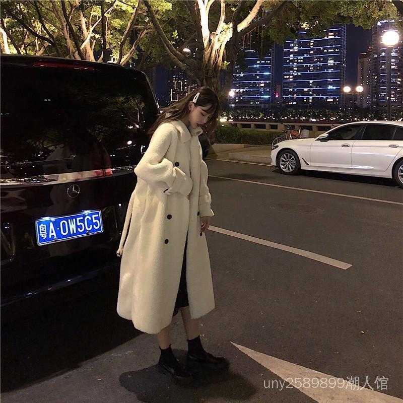 冬季韓版中長款復古仿羊羔毛呢子大衣學生寬鬆加厚保暖毛呢外套女