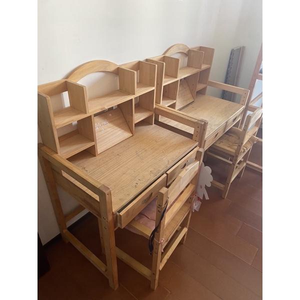 二手 實木兒童書桌 椅子 高度可升降