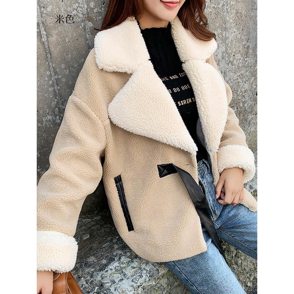 仿皮草顆粒絨短款寬鬆大衣外套