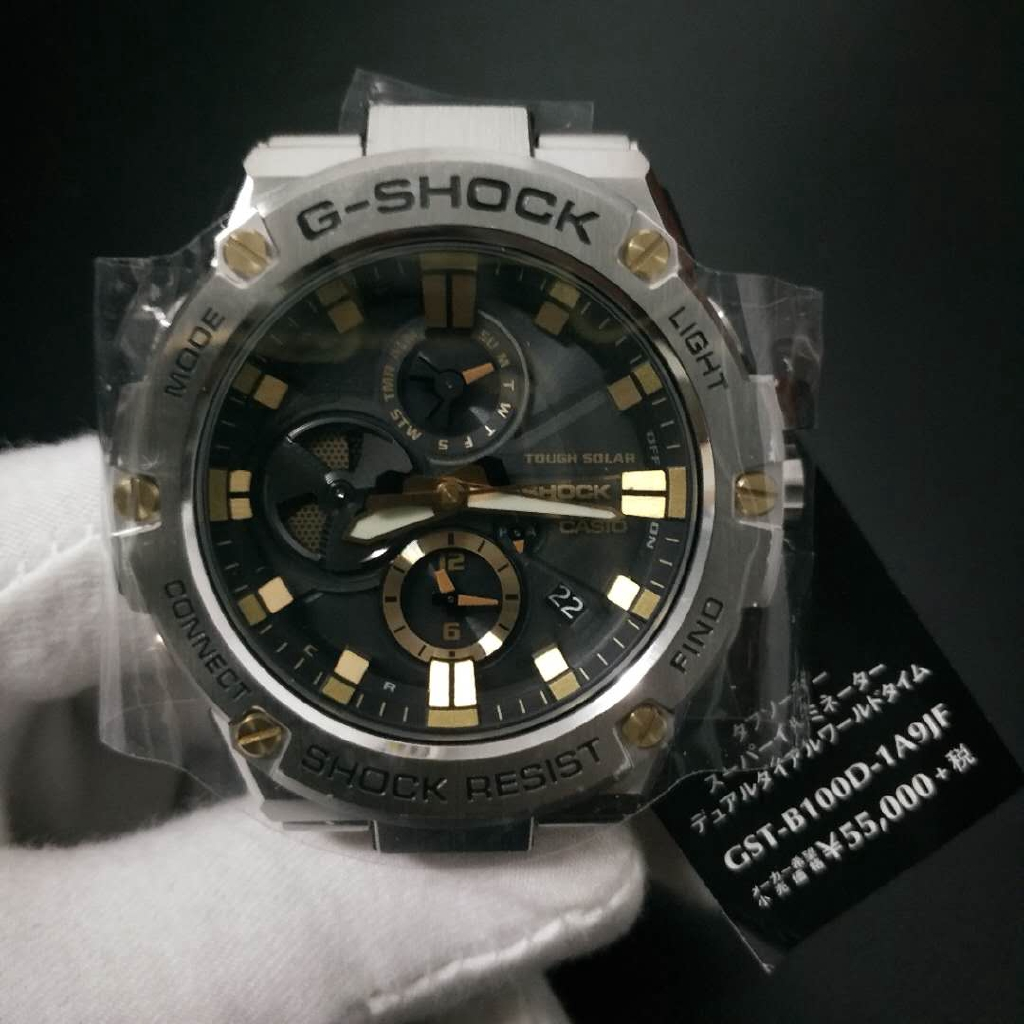 卡西歐GSteel光動能手錶男GST-B100/B100D/B100XA-1A 1AJF
