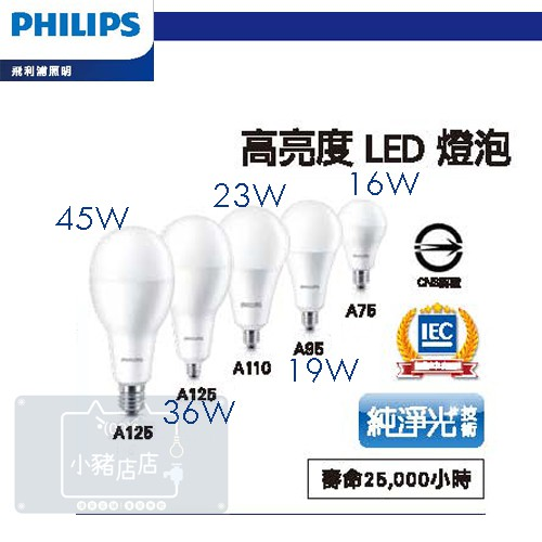 飛利浦 LED高亮度燈泡 45W 36W 23W 19W 16W