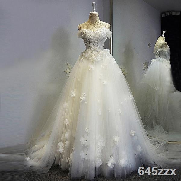 現貨♀□天使嫁衣 蕾絲抹胸超仙森系法式新娘拖尾輕婚紗禮服