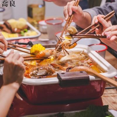 [現貨]#搪瓷#餐具# 日式琺瑯搪瓷火鍋加厚家用雙耳木蓋方格平底關東煮湯鍋電磁爐燉鍋喬良精品店