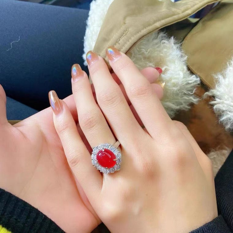 高冰紅玉髓戒指天然水晶銀鍍金鑲嵌指環活口飾品魔法隨形紅女網