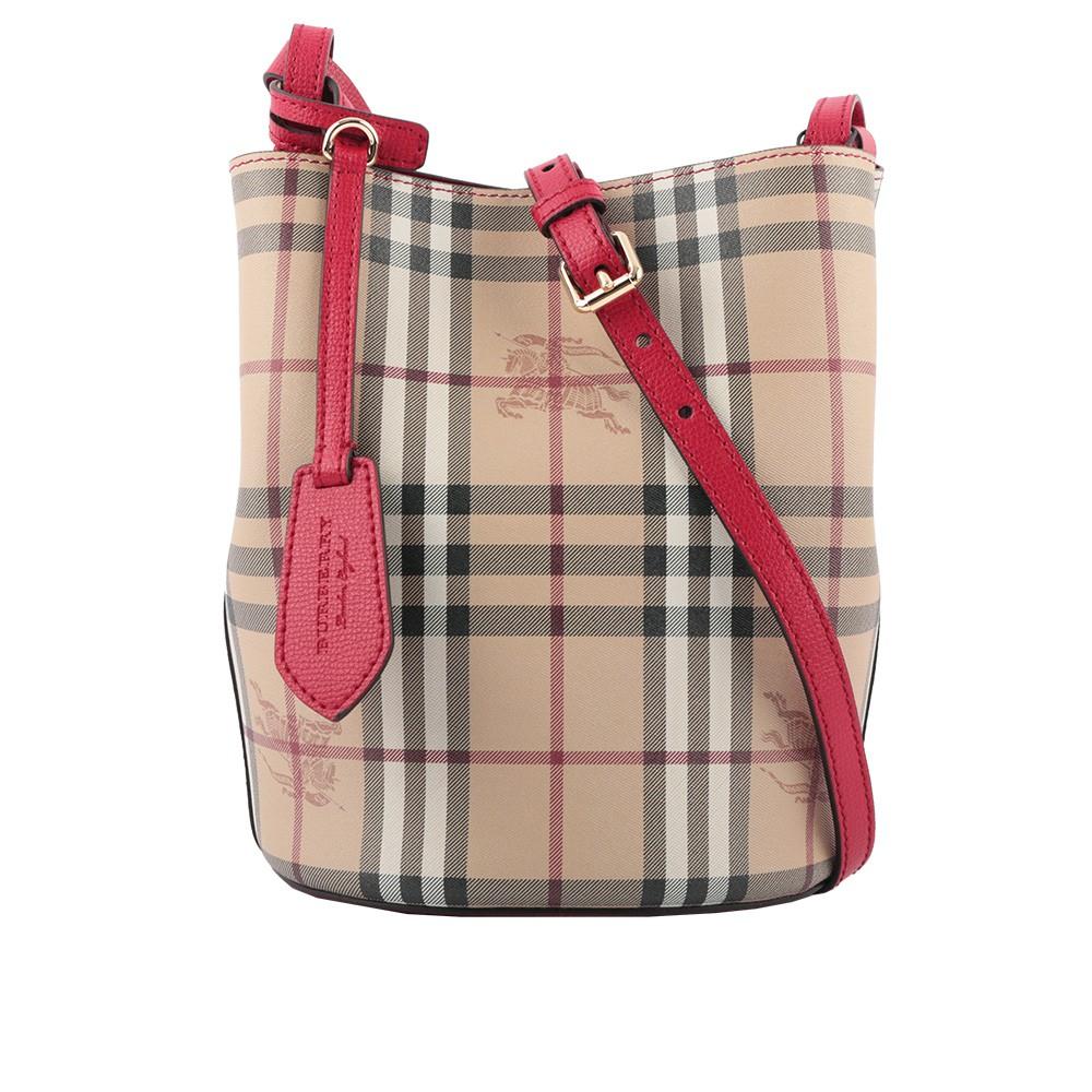 BURBERRY Haymarket格紋皮革斜背水桶包(紅色) 40571571