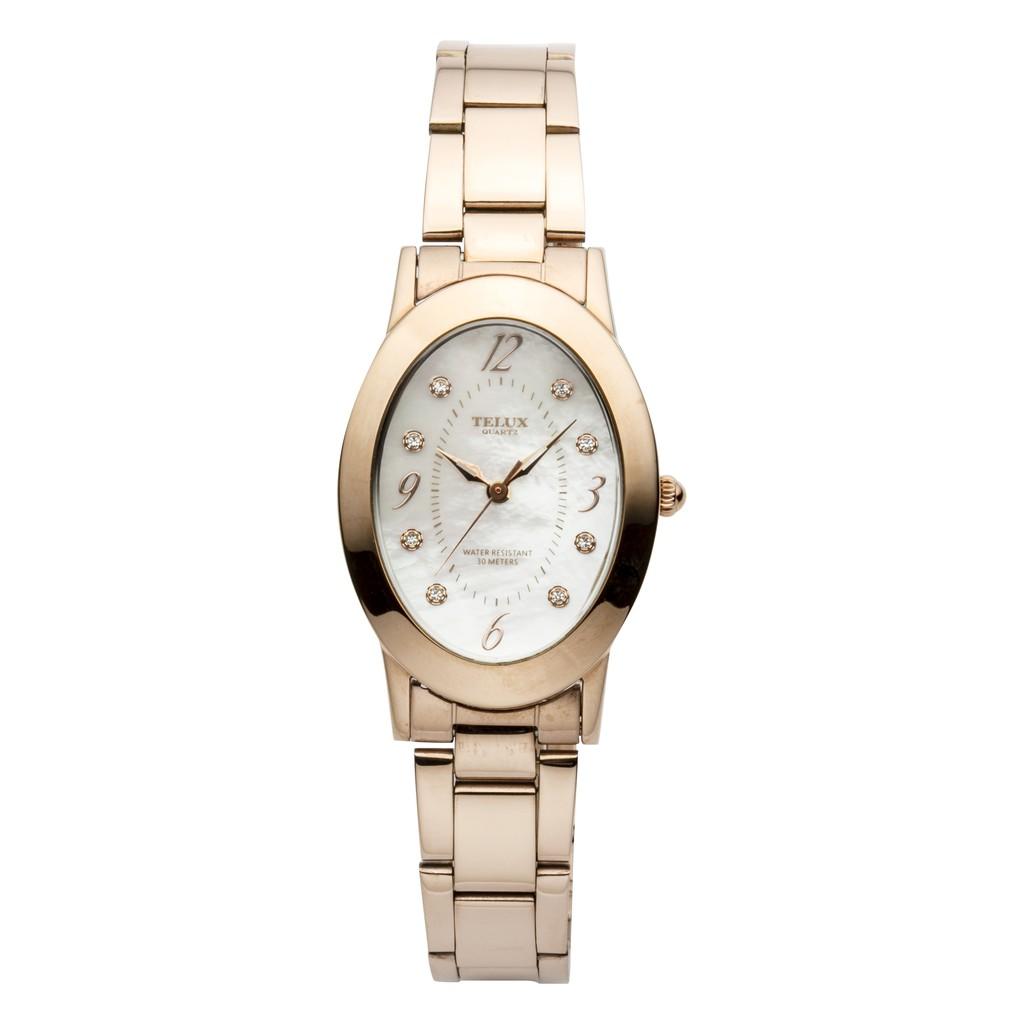 台灣品牌手錶腕錶【TELUX鐵力士】晶漾璀璨女腕錶手錶35mm台灣製造石英錶85336GRG-SH 鋼帶珍珠母貝