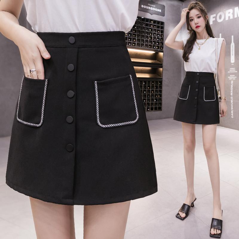 黑色短裙 a字裙包臀裙 氣質款顯瘦合身防走光有內襯單排扣設計感小眾chic風高腰半身裙女