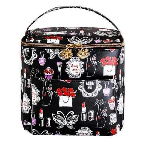 ★JS日雜附錄★ Anna sui 黑紅 復古 化妝包 盥洗包 化妝箱 收納包