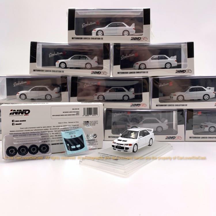 INNO 1/64 三菱LANCER EVO3 白色 送水貼改裝輪胎 合金汽車模型