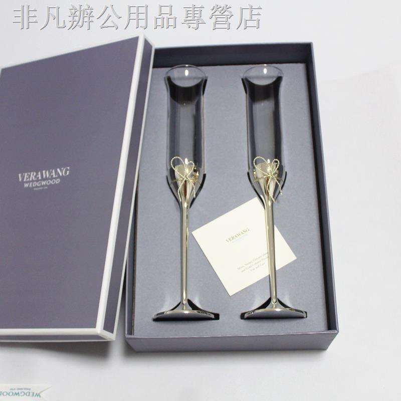 紅酒杯現貨WEDGWOOD VERA WANG愛之結LoveKnots水晶香檳杯對杯婚慶禮盒