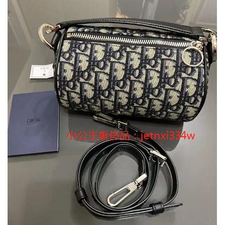 小公主奢侈品二手98新 Dior迪奧 Oblique mini roller 手提包 圓筒包 信使包 帆布包 圓餅包