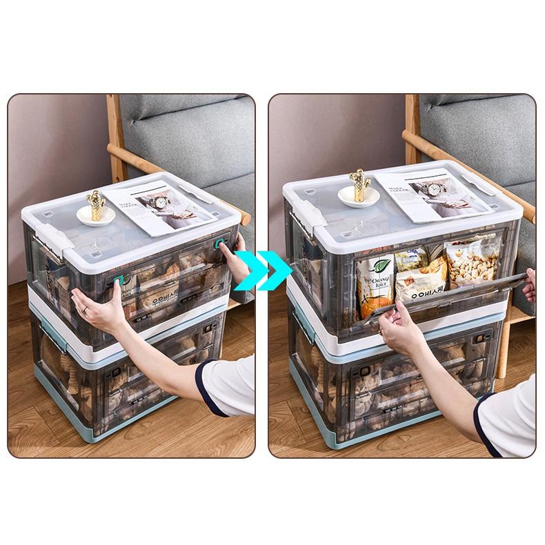 折疊收納箱 下掀式側開貨櫃箱 大號  帶蓋 手提 帶滑輪 塑料 臥室客廳車載儲物盒 透明整理箱 前蓋可開