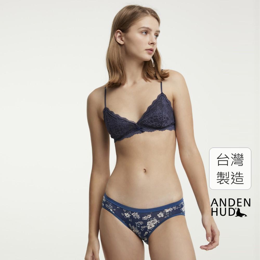 【Anden Hud】粉蝶梅牆.低腰三角內褲(深藍-小白花) 台灣製