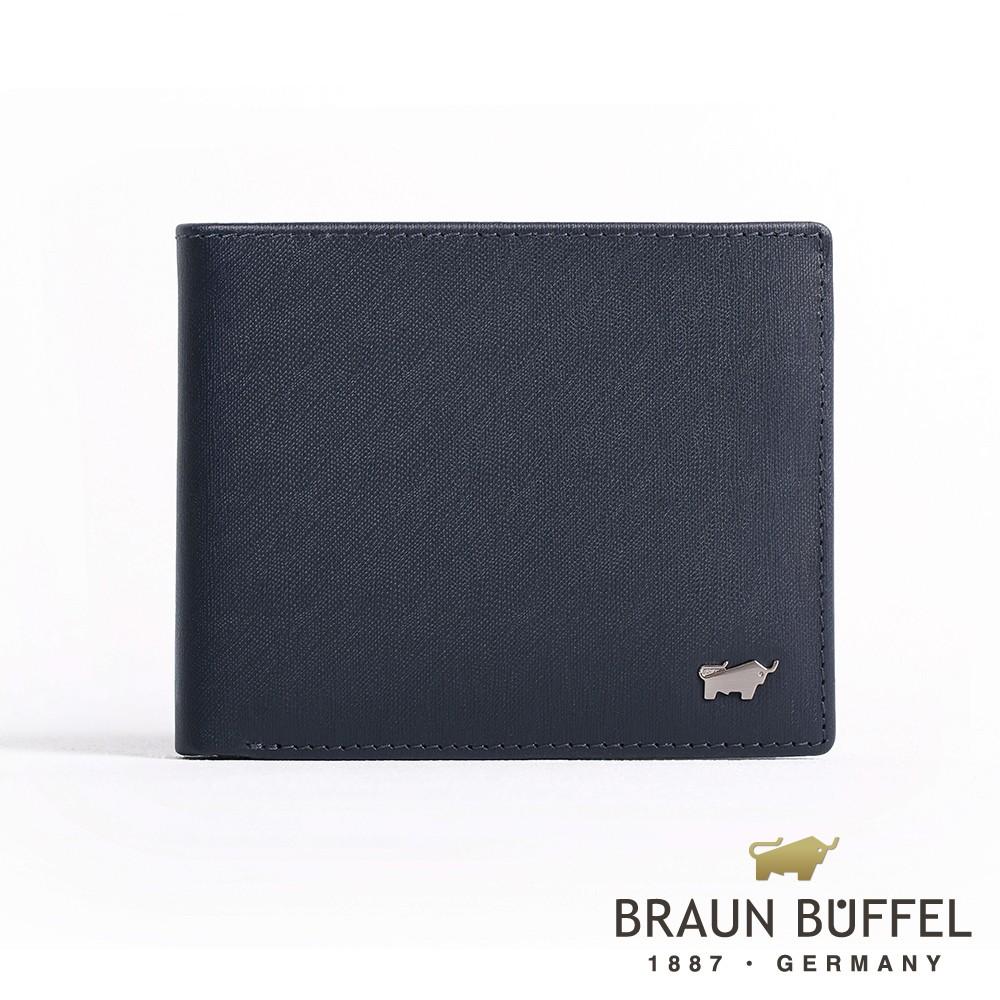 【BRAUN BUFFEL】台灣總代理 HOMME-M系列5卡窗格皮夾(深藍)BF306-316-MAR