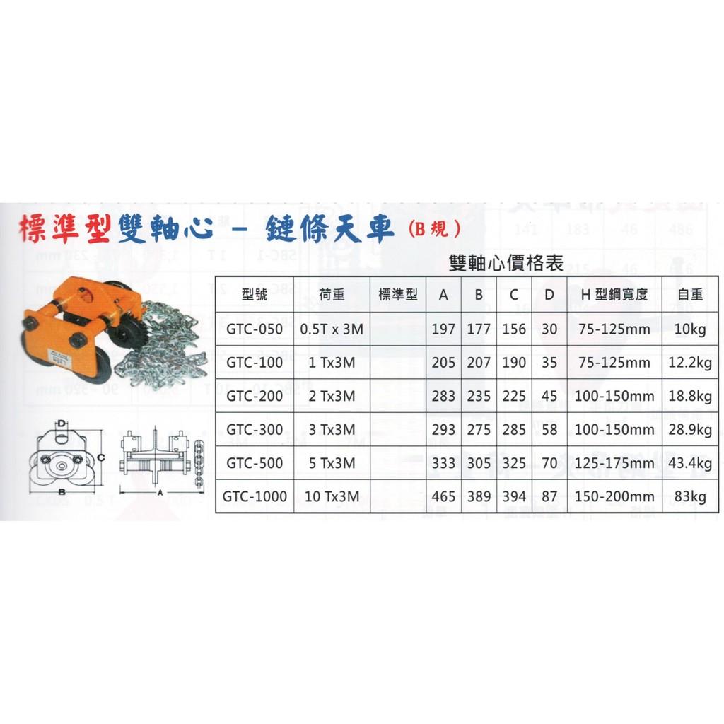 標準型雙軸心 鍊條天車 鏈條天車 GTC-050/100/200/300/500/1000 價格請來電或留言洽詢