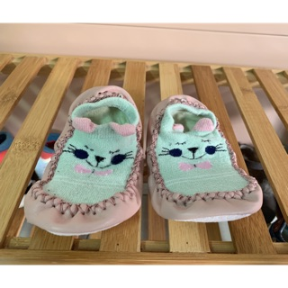 贈送 二手童鞋綠貓咪襪鞋12cm (有購買本賣場之商品即可贈) 屏東縣