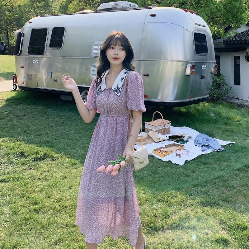 GRACE格麗思 韓版洋裝 S-L 2020夏季新款韓版復古碎花娃娃領短袖泡泡袖收腰沙灘長裙女