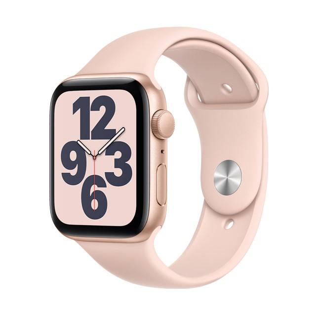Apple Watch SE GPS ,  44mm 金色鋁金屬錶殼 粉沙色運動錶帶 _ 台灣公司貨 + 贈品