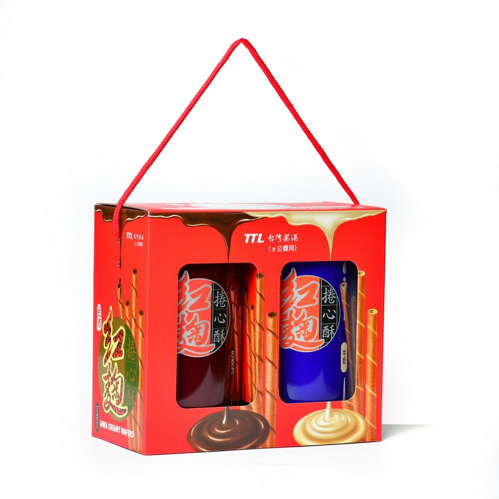 【台酒TTL】台酒紅麴捲心酥禮盒-牛奶/巧克力(奶蛋素)