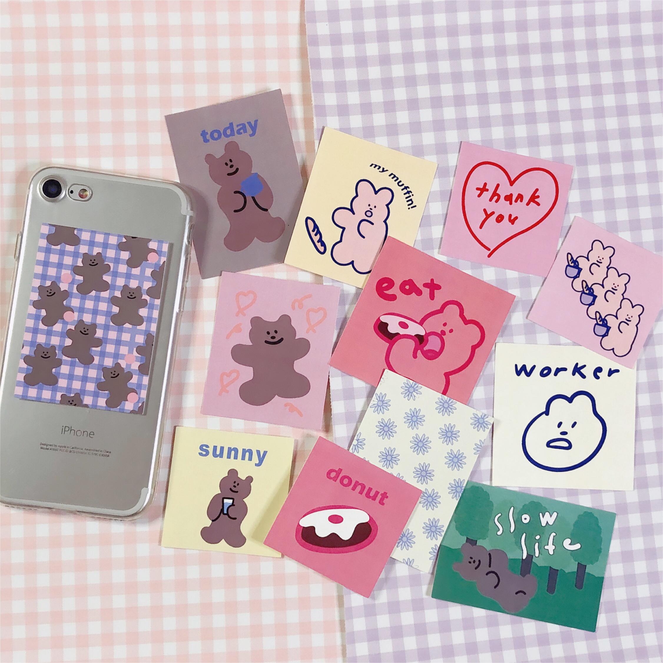 韓風粉色复古貼紙包 可愛小熊甜甜圈 雪人禮物 封口貼 手帳素材拼貼 DIY裝飾手機殼 筆電 收納盒 Musemood平替