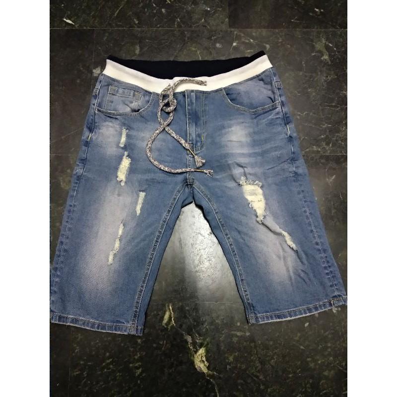 韓國品牌 PESCADO 97%棉 刷破 牛仔褲 男款 S