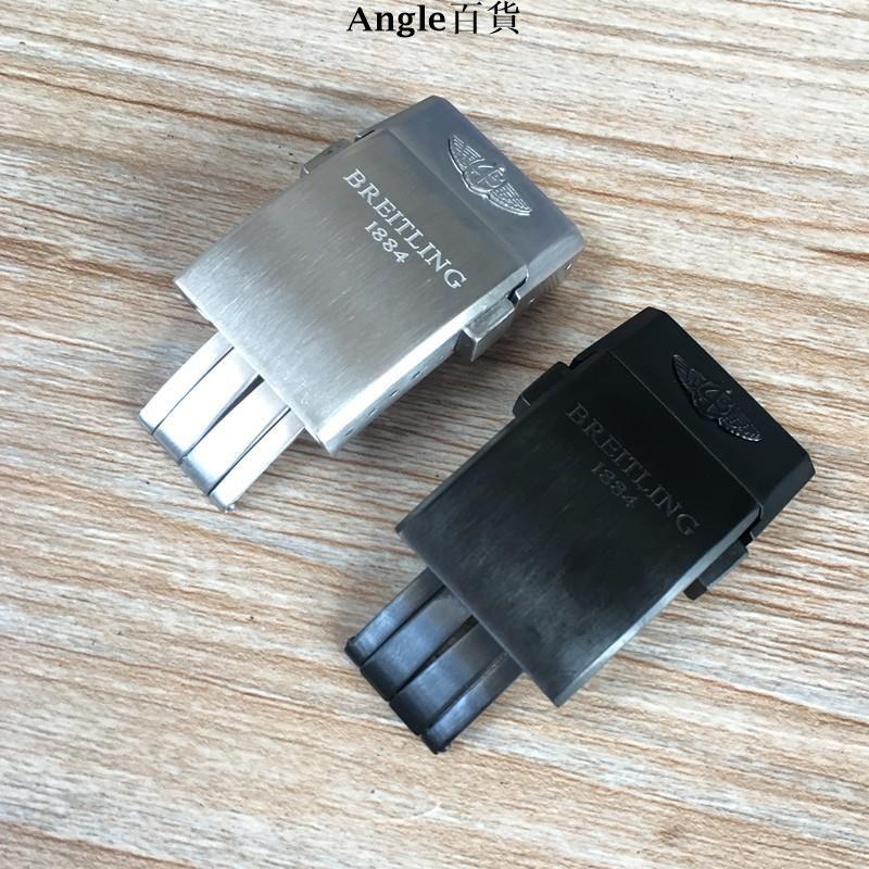 Angle優選代用Breitling百年靈表扣原裝尼龍硅膠橡膠帶折疊扣20mm銀色黑色e