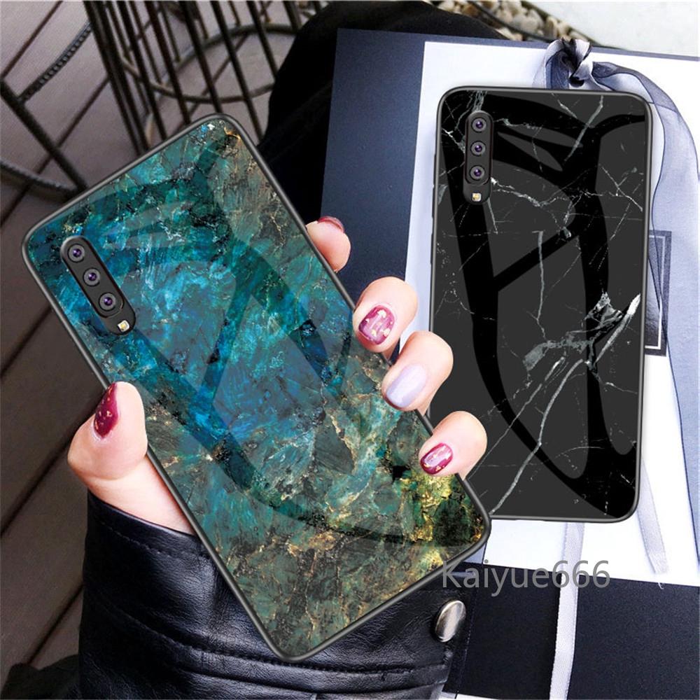 三星 Galaxy A50 A70 A 70 Case 大理石鋼化玻璃軟矽膠套三星 Galaxy A10 A20 A30