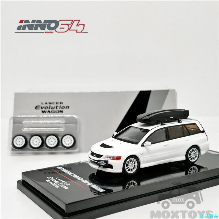 INNO 1:64 三菱 LANCER EVOLUTION IX WAGON 附車頂盒和輪胎 汽車模型