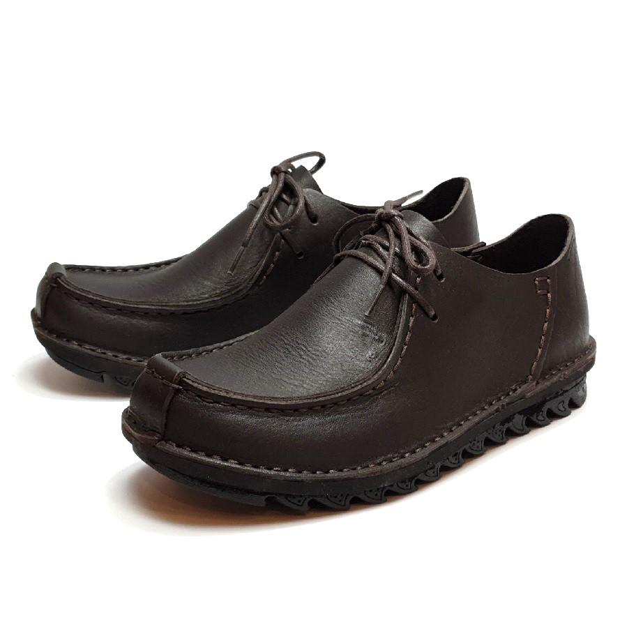 MIT真皮男鞋 休閒鞋 手工 寬楦 - 男繫帶袋鼠鞋-深咖