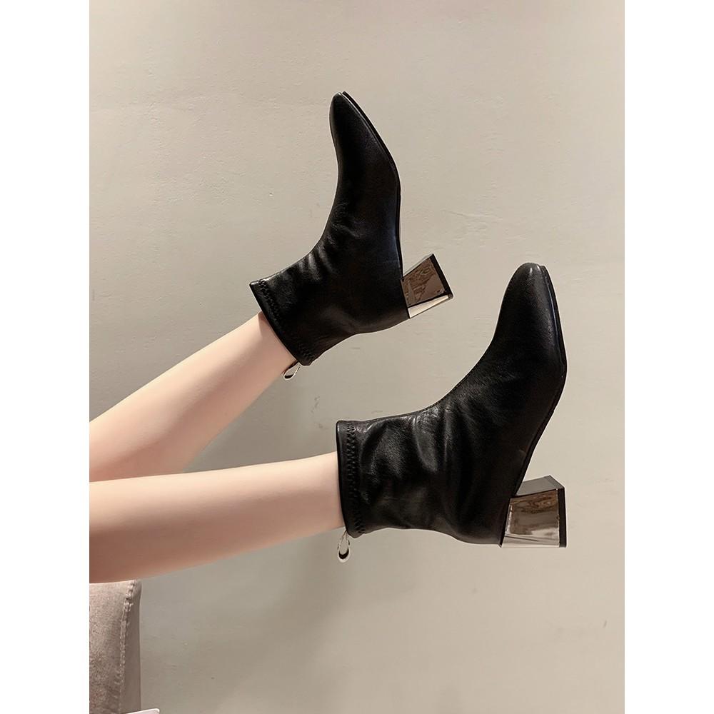 現貨靴子女短靴新款秋季百搭方頭彈力靴潮粗跟瘦瘦馬丁靴