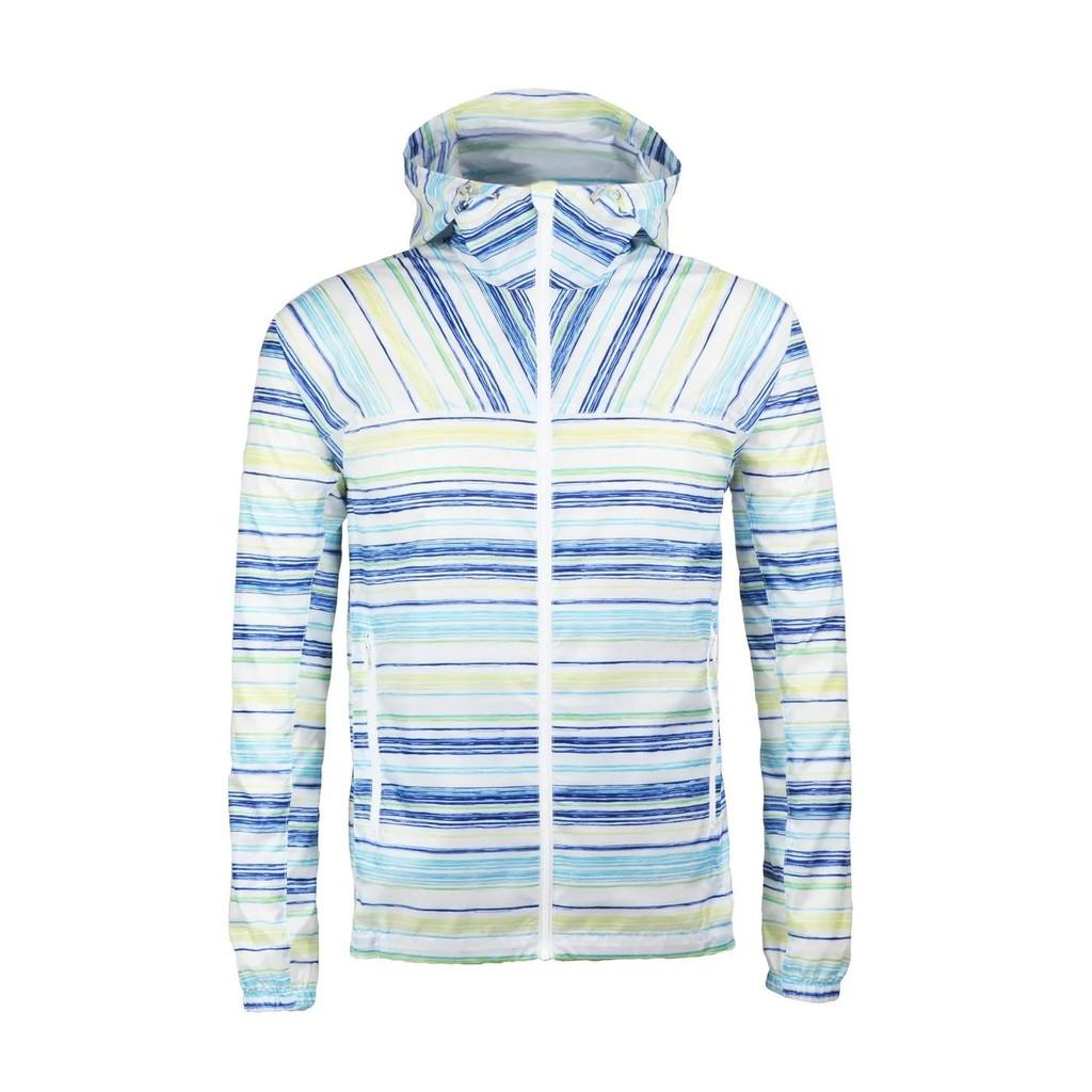GFun 男款印花風衣外套 - 藍白橫條紋