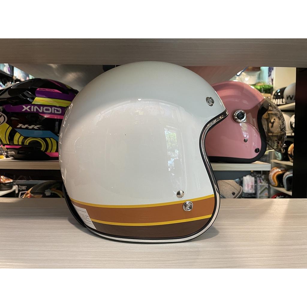 【創時代】Torc T50 復古帽 安全帽  ISO BARS 亮光白 送鏡片