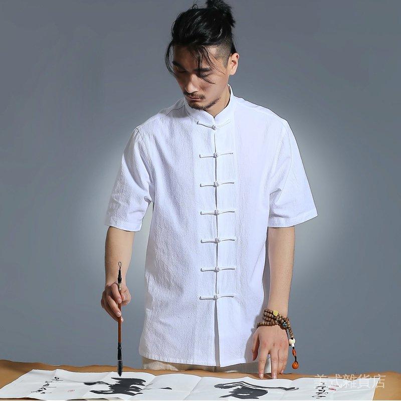 Ngi3 夏季唐裝男青年純色短袖中式亞麻盤扣休閑襯衣棉麻文藝漢服男襯衫