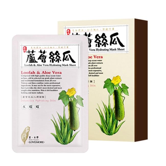 豐台灣蘆薈絲瓜沁潤蠶絲面膜5入