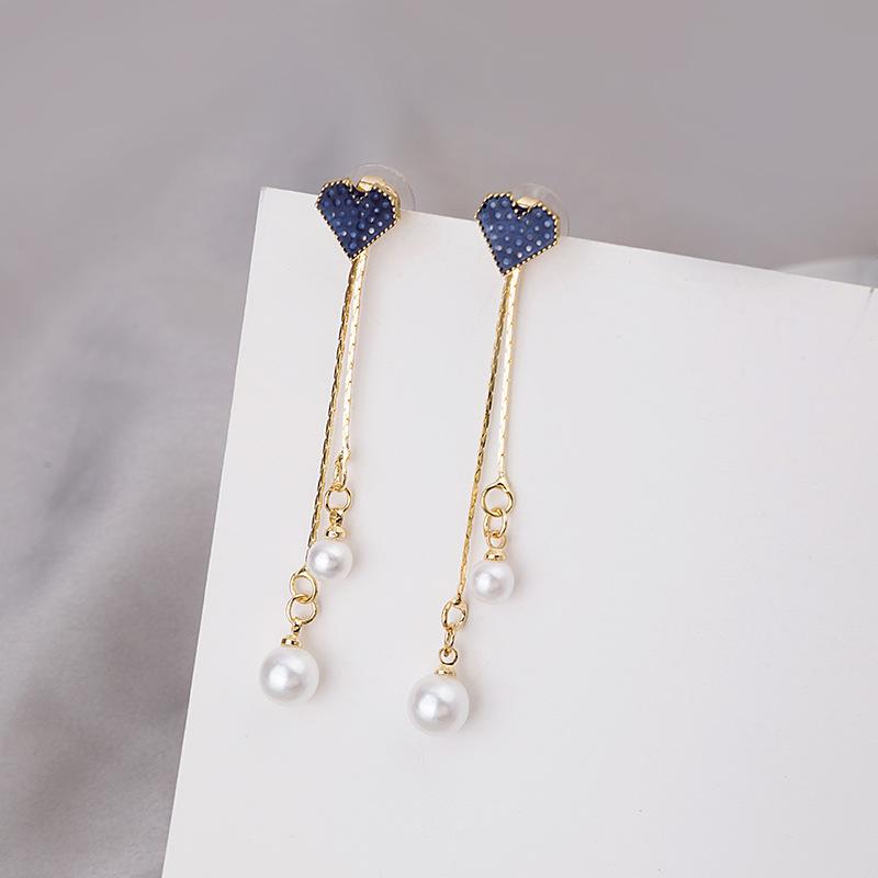 【免運】一款兩戴 耳環 長款藍色愛心珍珠流蘇耳環甜美耳墜 氣質百搭港風耳飾