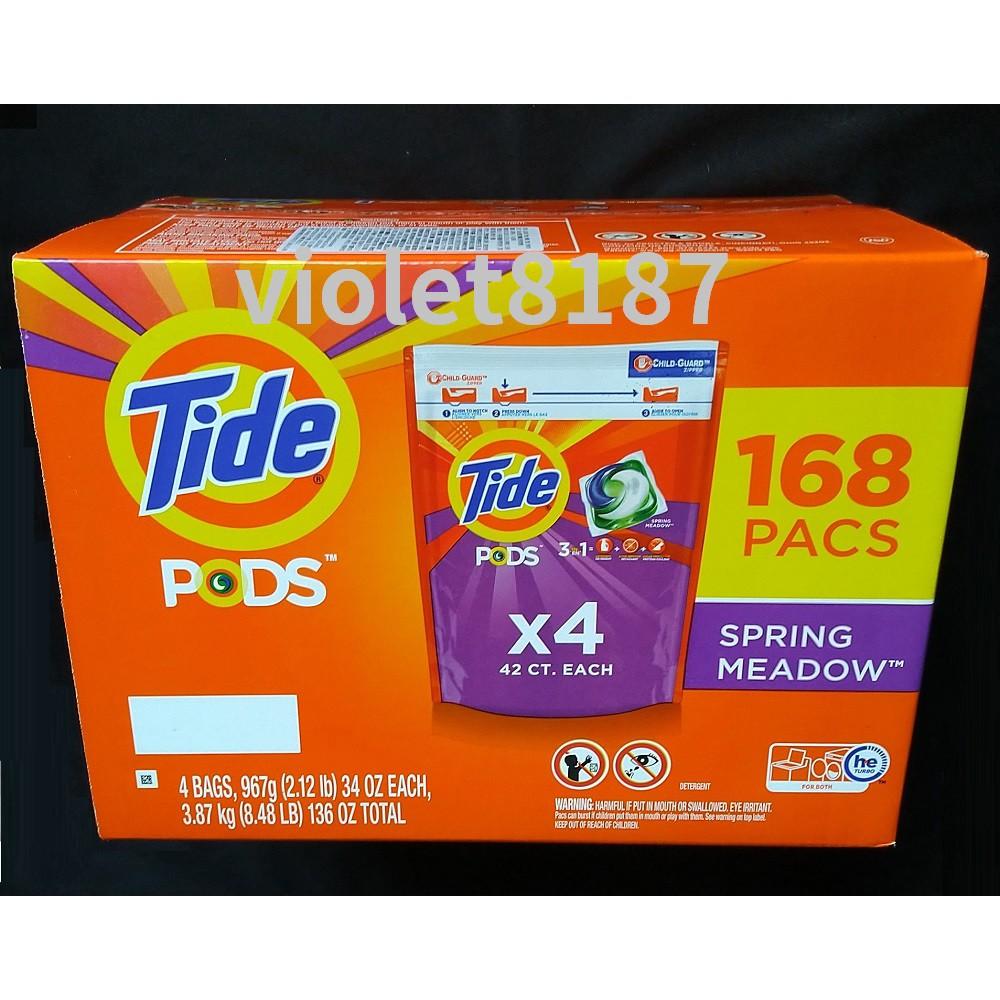 Tide 汰漬 洗衣膠囊 春天草地香 42顆 X 4入整箱或拆售單袋 洗衣球膠囊[Costco代購] 宅配免運刷卡