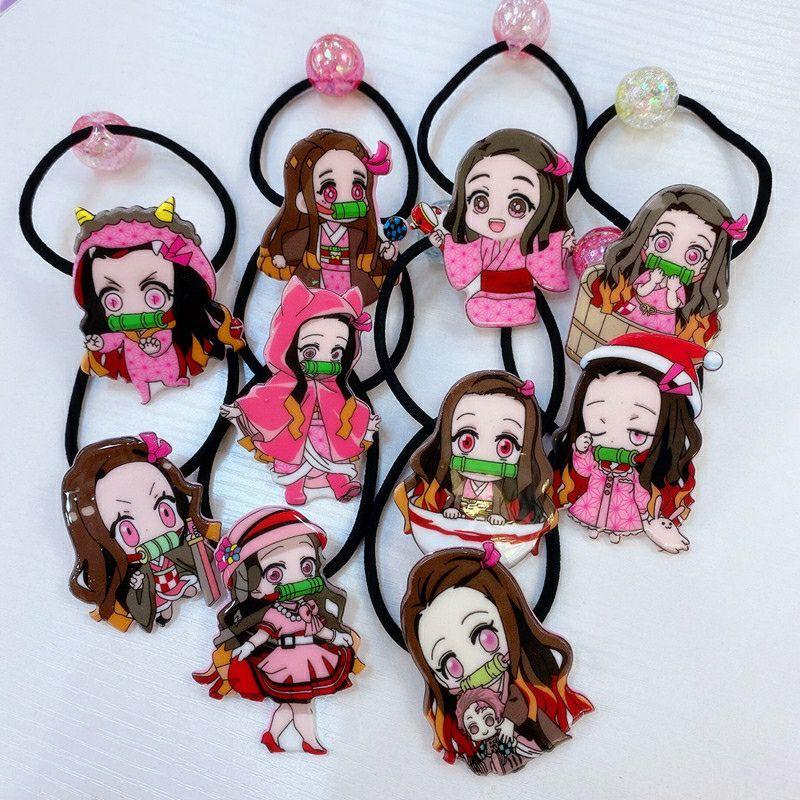 (現貨台灣)🌸『鬼滅之刃』『禰豆子』10入組(髮圈) (髮繩) 女童髮飾