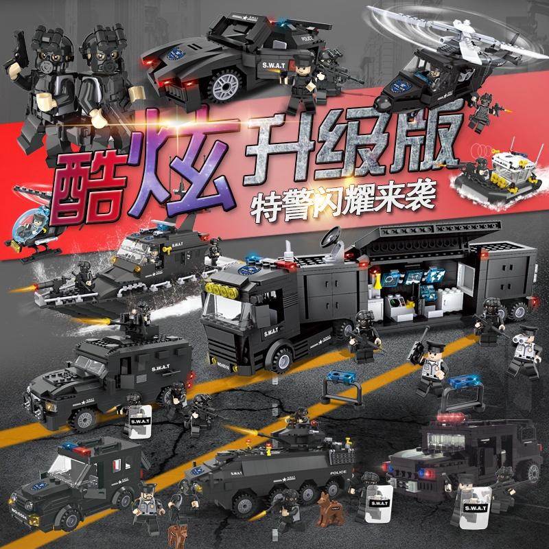 兼容樂高積木兒童軍事特警系列城市警察局車飛機男孩益智拼裝玩具