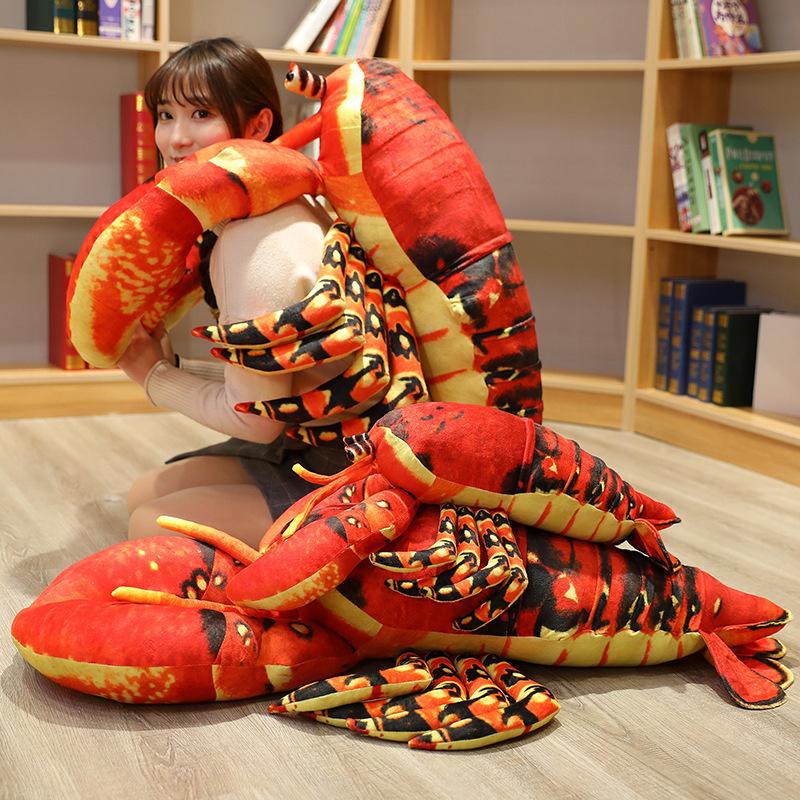 創意大龍蝦抱枕毛絨玩具麻辣小龍蝦澳龍搞怪玩偶布娃娃擺件裝道具
