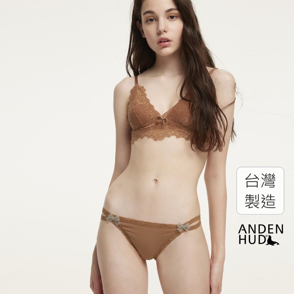 【Anden Hud】夜未眠.雙蕾絲邊高衩低腰三角內褲(淺棕) 台灣製