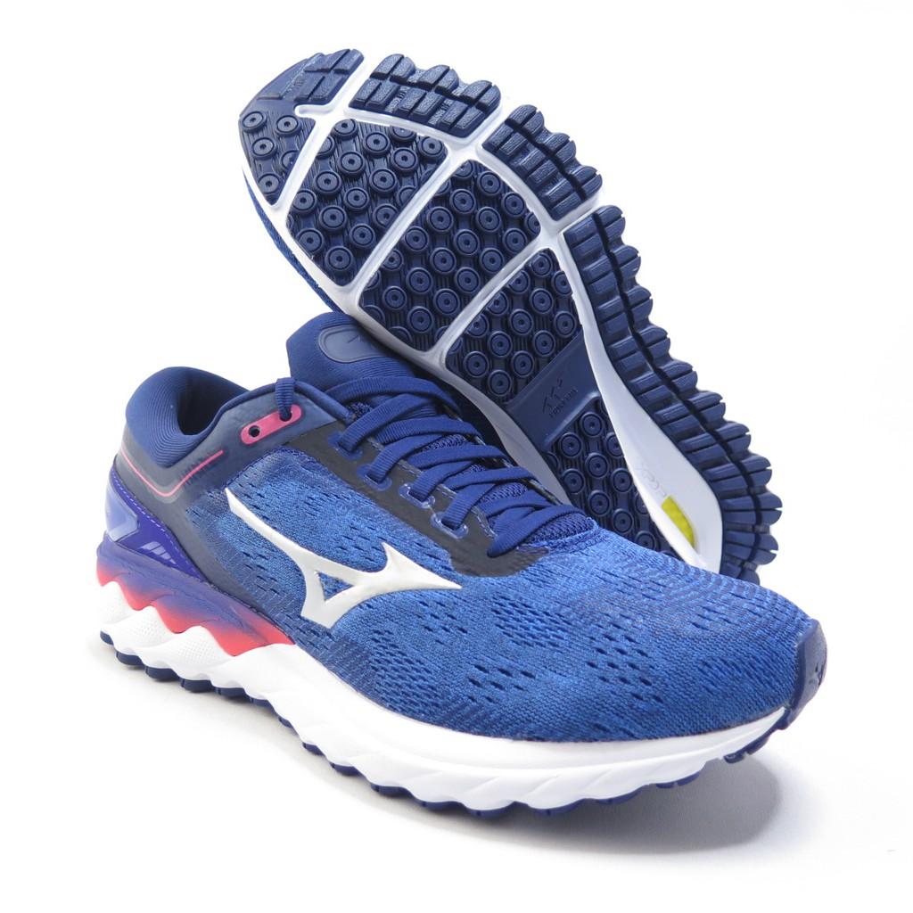 Mizuno WAVE SKYRISE 3E楦 男款 慢跑鞋 高緩衝 J1GC202355 藍【iSport愛運動】