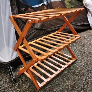 露營居家皆適合置物竹製摺疊三層架 附收納袋 臺南市