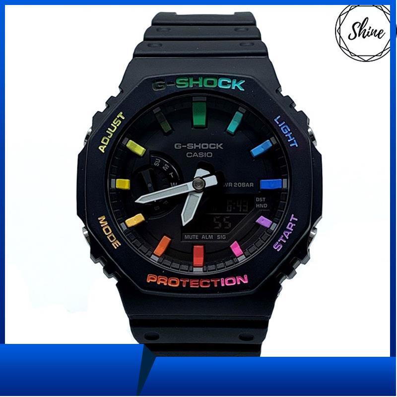 [哼仔小鋪]改裝 GA-2100-1A 手錶 客製彩虹12刻度和錶殼字 [Shinecollecti