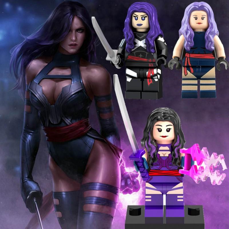 X-Men Psylocke 天使電纜金剛狼與 Legoing Minifigures Avengers Marvel