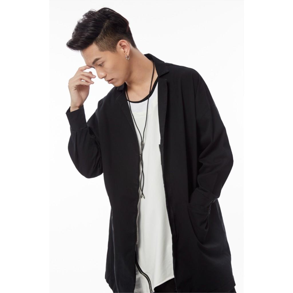 簡約素色長版外套