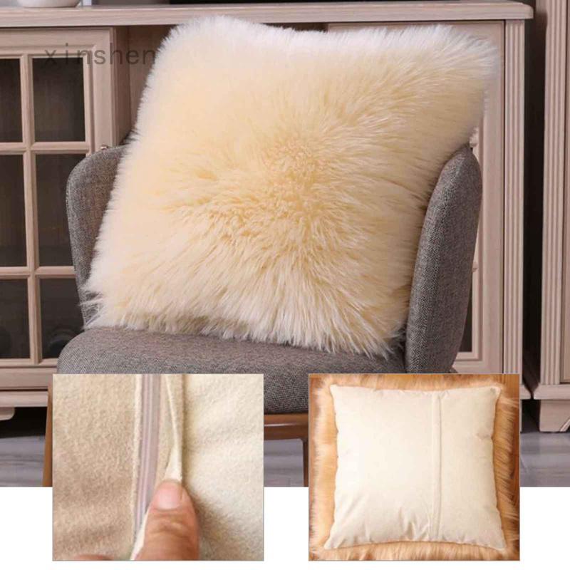 Xinshen Xiangraozhang Fengwu 現代風格的椅子裝飾人造毛皮枕套, 背枕盒 / 座椅沙發墊套