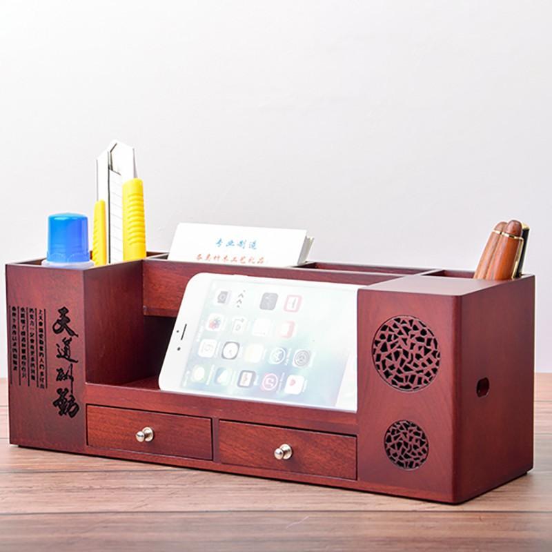 (超商聯繫客服)實木筆盒 木質辦公用品收納盒多功能文具桌面整理收納實木筆筒創意個性擺件